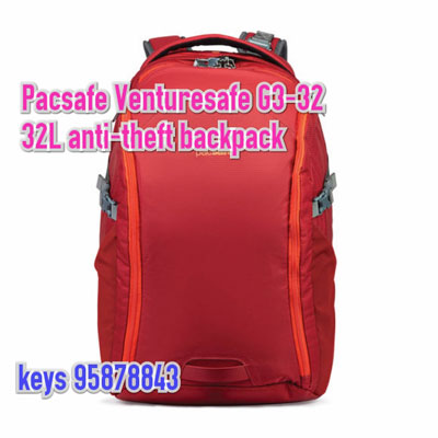"Pacsafe Venturesafe G3 32L 15"" Macbook Anti-Theft Backpack -red"